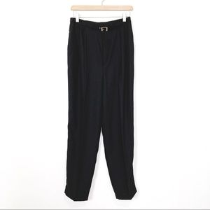 Vintage high waisted black trousers belt tapered